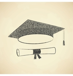 Scribble graduation cap and diploma vector