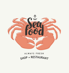 seafood banner for restaurant or shop with crab vector image