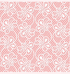 seamless flower lace pattern on pink background vector image