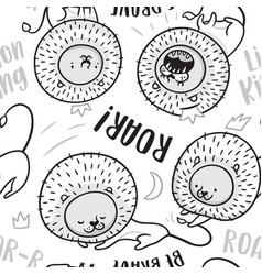 seamless pattern of lions in cartoon style ideal vector image