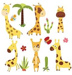 Set funny giraffes vector image