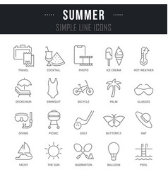set line icons summer vector image
