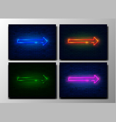 set neon arrows colorful neon sign in brick wall vector image