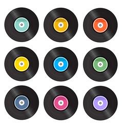 set of retro vinyl gramophone vector image