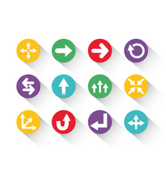 set round block color arrows icons with shadow vector image