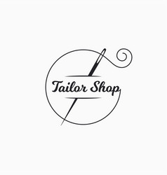 Sewing needle logo tailor shop with thread vector