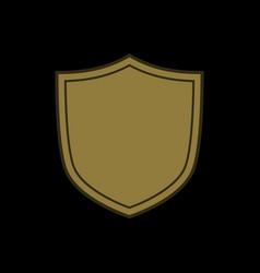 Shield shape gold icon simple flat logo on black vector