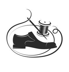 shoe the needle and the thread coil are vector image