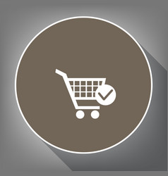 shopping cart with check mark sign white vector image
