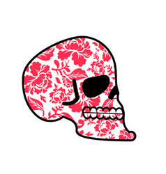 skull of flowers head of skeleton and flower vector image