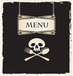 skull with a spoon and fork vector image