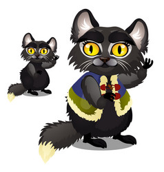 Sly animated black furry cat with yellow eyes in a vector