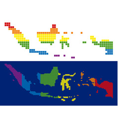spectrum pixel dotted indonesia map vector image