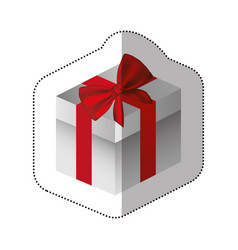sticker gray square gift box with red ribbon vector image