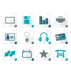 Stylized office and business icons vector
