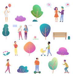 summer people outdoor activity in park icons vector image