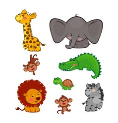 The cute African animals vector