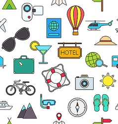 Travel colorful pattern icons vector