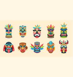 tribal mask ethnic african aztec and hawaiian vector image