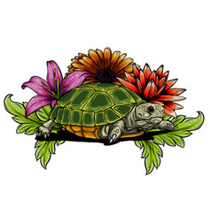 turtle with flower designs art vector image