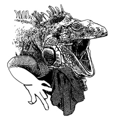 Unusual original artwork of iguana lizard with vector
