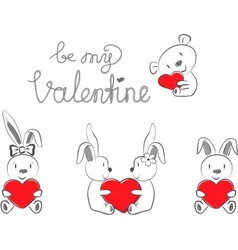 Valentines Rabbits and Bear with Red Heart vector image