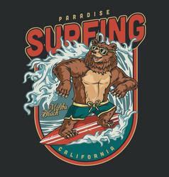 vintage colorful surfing emblem vector image