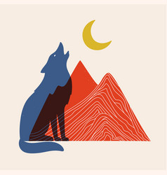 with red mountains blue howling wolf and yellow vector image