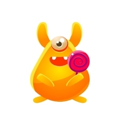 Yellow Toy Monster With Candy vector