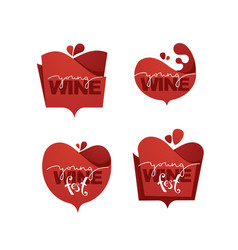 young wine fest red wine logo emblems labels vector image
