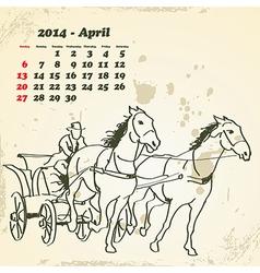 April 2014 hand drawn horse calendar vector image vector image