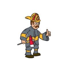 Fireman Firefighter Axe Thumbs Up Cartoon vector image vector image