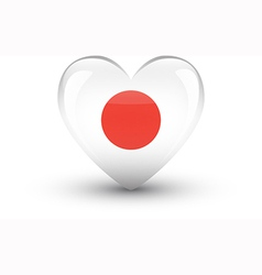Heart-shaped icon with national flag of Japan vector image