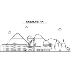 kazakhstan architecture line skyline vector image