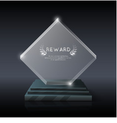 Realistic crystal glass trophy award vector