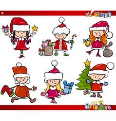 santa and christmas cartoon set vector image vector image