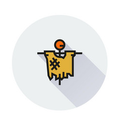 scarecrow icon on round background vector image vector image