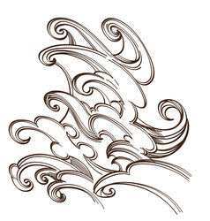 sea or ocean wave water splash hand drawn sketch vector image vector image
