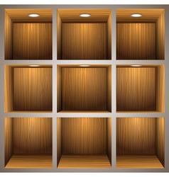 3d wooden shelves vector image