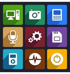 Multimedia flat icons set 9 vector image