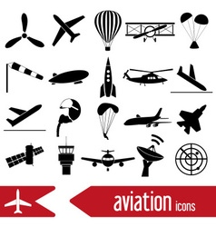 aviation big set of simple icons eps10 vector image vector image