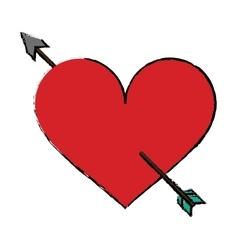 cartoon red heart with arrow love symbol vector image vector image