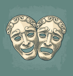 Comedy and tragedy theater masks engraving vector