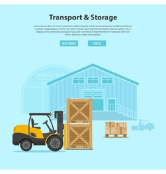Forklift and Warehouse vector image