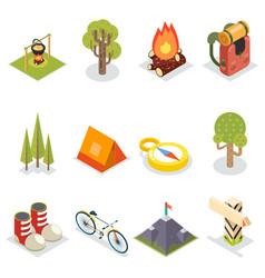 isometric travel rest symbols tourist accessories vector image