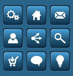 Set of blue web square buttons vector image vector image