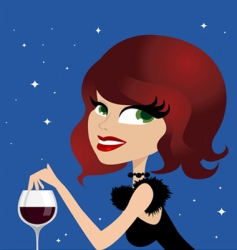 woman drinking wine vector image vector image