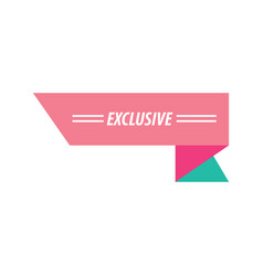 design ribbon exclusive pink and green vector image