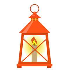red lantern icon flat style isolated on white vector image vector image