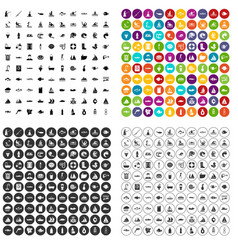 100 water icons set variant vector image